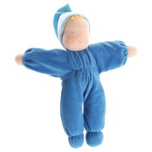 Grimm's Soft Cuddle Baby Natural Waldorf Doll, Blue