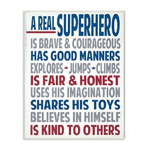 The Kids Room by Stupell Typography Art Wall Plaque, A Real Superhero by The Kids Room by Stupell