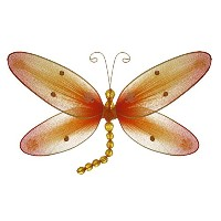 The Butterfly Grove Taylor Dragonfly Decoration 3D Hanging Mesh Organza Nylon Decor, Orange...