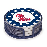 Thirstystone VUMS2-HA23 Stoneware Drink Coaster Set with Holder, University of Mississippi Dots by...