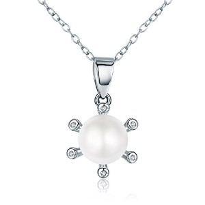 WOSTU S925 Blooming Flower Pearl Pendant Silver Necklace 枯れない花 フラワーペンダント シルバー真珠ネックレス アジャスター付き レディース