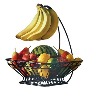 Gourmet Basics by Mikasa French Countryside バナナフック付きフルーツバスケット (Fruit Basket with Banana Hook),...