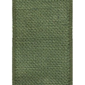 Offray Wired Edge Burlap Craft Ribbon, 2-1/2-Inch Wide by 25-Yard Spool, Moss by Offray