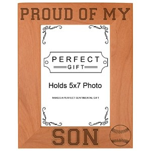 Baseball Dad Mom Gift Proud of my Daughter Natural Wood Engraved 5x7 Portrait Picture Frame Wood by...