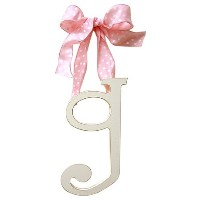 New Arrivals Wooden Letter G with Pink Polka Dot Ribbon, Cream by New Arrivals