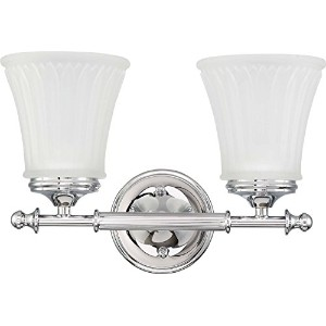 Nuvo Lighting 60/4262 Two Light Teller Vanity with Frosted Etched Glass, CUL Damp Location,...