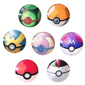 AUCH 7pcs Funny Pokemon Goボール3dドーム冷蔵庫磁石おもちゃ – Perfect Party Favors、Office Dry Erase Board磁気ステッカー...