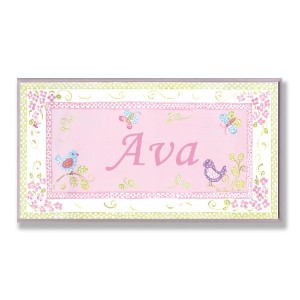 The Kids Room by Stupell Ava, Pink and Green Chickadees Personalized Rectangle Wall Plaque by The...