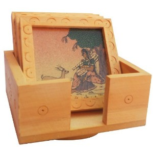 A TeaコースターMade with Wood and Lady with Dear Gem Stone絵画
