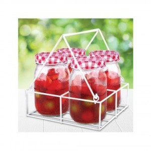 Kole ol134ガラスMason Jar Set with Carryingトレイ、Regular