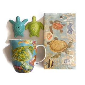 Swimming Sea Turtleコーヒーorティーセラミックマグバンドルwith Sea TurtleノベルティSalt & Pepper Set and Sea Turtle 3...