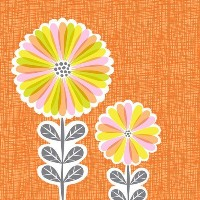 Oopsy Daisy Canvas Wall Art Mod Daisies by Josephine Kimberling, 18 by 18-Inch [並行輸入品]