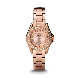 Fossil Women's ES2889 Riley Rose Gold-Tone Stainless Steel Watch with Link Bracelet