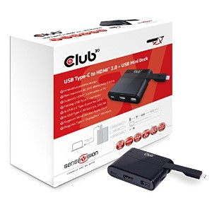Club3D SenseVision USB Type-C to HDMI 2.0 4K 60Hz ディスプレイ + USB Type-C Charging パワー + USB 2.0 Mini...