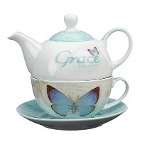 Botanic Butterfly Blessings Grace Tea-for-One Set by Christian Art Gifts