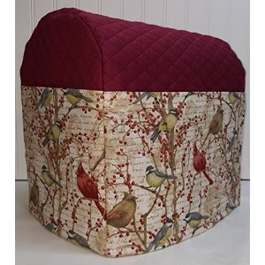 Quilted Birds & Berries Kitchenaid Tilt Head Stand Mixer Cover (Burgundy) by Penny's Needful Things
