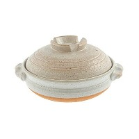 Kotobuki 190-994D Donabe Japanese Hot Pot Shigaraki Brushstroke Design Casserole Pan (Serves 4 to 5...