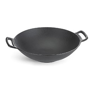 TableCraft CW30116 Cast Iron Wok, 6 quart, Black [並行輸入品]