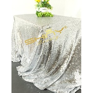 90inx156in Silver Sequin Tablecloth, Silverwedding Tablecloth, Silver Glitter Tablecloth, Silver...
