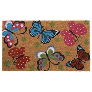 CastleMats Butterfly Mat Doormat, Non-Slip, Durable, Made Using Odor-Free Natural Fibers, 18 L x 30...