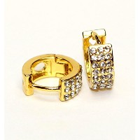 Hypoallergenic Surgical Steel Hoop Earring With 3 Rows Of 1.5 mm Cubic Zirconia (Yellow Gold Plated)