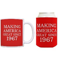 50th誕生日ギフトMaking America Great Since 1967Can CoolieドリンククーラーCoolies 12オンス レッド