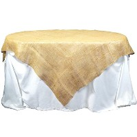 Kel-Toy Jute Burlap Table Topper with Overlock Edge, 60 by 60-Inch, Natural by Kel-Toy Inc