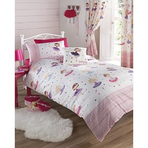 Ballerina Pink Single Duvet Cover and Pillowcase Set Bed Set Girl's Children's Bedding by Kids Club