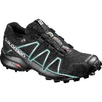 サロモン Salomon レディース ランニング シューズ・靴【Speedcross 4 GTX Trail Running Shoe】Black/Black/Metallic Bubble Blue