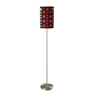ORE International 9300F-BK-RD Modern Retro Floor Lamp, Black/Red, 66 Inches by ORE [並行輸入品]