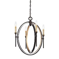 Eurofase 25646 Infinity 4-Light Chandelier, Oil Rubbed Bronze/Gold Leaf by Eurofase