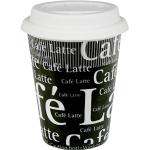 Konitz 9-Ounce Writing on Black Traveler's Mugs with Silicone Lid, Set of 4 [並行輸入品]
