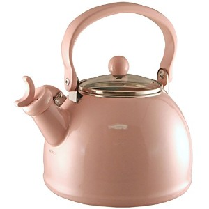 Calypso Basics 2-2-Quart Enamel-on-Steel Whistling Teakettle with Glass Lid, Pink [並行輸入品]
