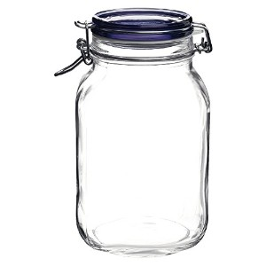 Bormioli Rocco Fido Square Jar with Blue Lid, 67-3/4-Ounce [並行輸入品]