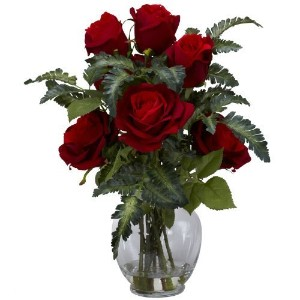 Nearly Natural 1280 Rose with Fern Silk Flower Arrangement, Red by Nearly Natural [並行輸入品]