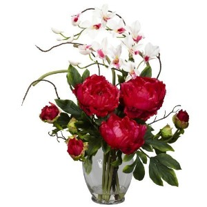 Nearly Natural 1175-RD Peony and Orchid Silk Flower Arrangement, Red by Nearly Natural [並行輸入品]