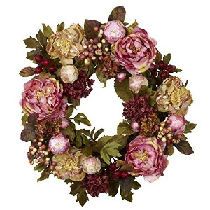 Nearly Natural 4930 Peony Hydrangea Wreath, 24-Inch, Autumn [並行輸入品]