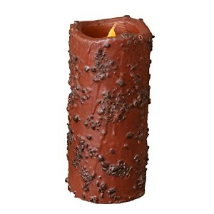 Your Hearts Delight Coffee Rolled Primitive LED Pillar with Timer, 6 by 2-5/8-Inch, Brown [並行輸入品]