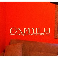 Wall Decor Plus More WDPM2467 Family Where Life Begins and Love Never Ends Home Wall Sticker, 36...