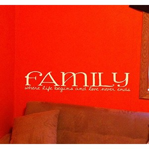 Wall Decor Plus More WDPM2461 Family Where Life Begins and Love Never Ends Home Wall Sticker, 23...