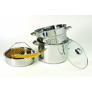Excelsteel 8 Quart 18/10 Stainless Steel 4 Piece Muti-Cookware Set With Encapsulated Base [並行輸入品]