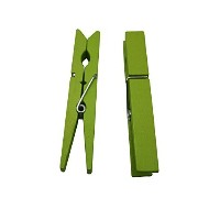 "Yongshida Wood Craft Clothespins Pegs with Spring 2.9"" Color Green Pack of 40 [並行輸入品]"