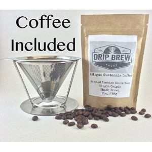 Pour Over Coffee Filter with Coffee: Reusable Pour Over Coffee Maker Stainless Steel Coffee Filter...