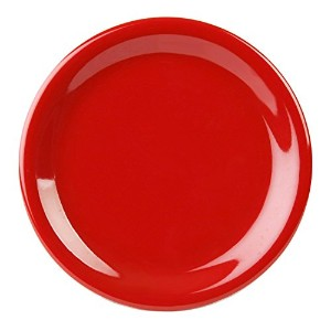 Excellant? Crimson Melamine Collection 7-1/4-Inch Narrow Rim Round Plate, Pure Red, 12-Piece [並行輸入品]