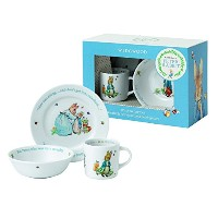 Wedgwood Boy's Peter Rabbit 3-Piece Plate, Bowl and Mug Set, White and Blue [並行輸入品]