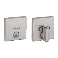 Kwikset 258 Downtown Low Profile Square Contemporary Deadbolt featuring SmartKey in Satin Nickel ...