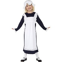 Smiffys Girl's White/Blue Victorian Poor Girl Costume - Large Age 10-12