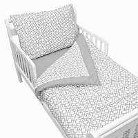 American Baby Company 100% Cotton Percale Toddler Bedding Set, Gray Lattice, 4 Piece [並行輸入品]