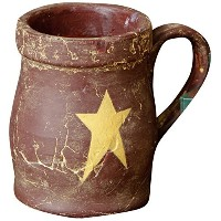 Your Hearts Delight Primitive Star Mug, 4-3/4 by 3-1/2-Inch, Burgundy [並行輸入品]