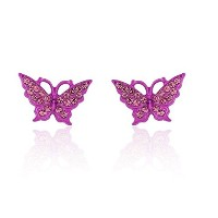 Hypoallergenic Surgical Steel Rhodium Plated Butterfly Earrings With Cubic Zirconia Stones (Pink)
